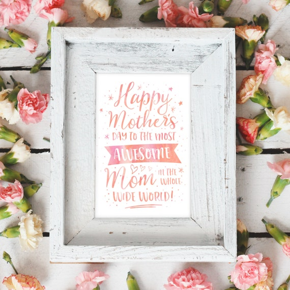Gifts for Mom, Mother's Day Printable Card, Last Minute Mother's Day, World's Best Mom, Mothers Day Artwork, Digital Mother's Day Print Art