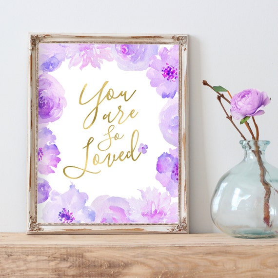 You Are So Loved Floral Nursery Print, Purple And Gray Nursery Decor, Purple And Silver Nursery Art, Purple And Gold, Love Quote, I Love You