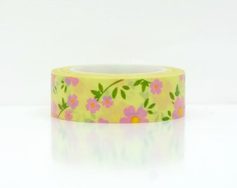 pink with yellow floral washi tape-  washi embellishment- paper tape- weddings- pretty flower- erin condren- pink flower masking tape