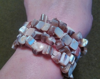 On Sale Champagne mother of pearl nugget memory wire wrap bracelet