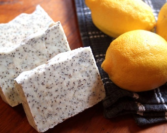Lemon Poppyseed Soap, All Natural Soap, Exfoliating Soap, Citrus Soap, Handmade Soap, Homemade Soap