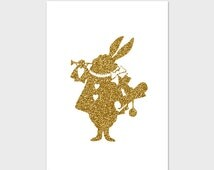 Printable Art - Gold White Rabbit - Instant Download,8x10,Wall Art,Wall Decor,Home Decor,White Rabbit Print,Gold Print,Gold Decor,Nursery