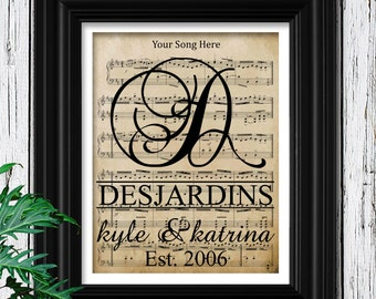 5th Anniversary Wood Gift for Men | Custom Sheet Music Art in Solid Wood Frame | Velvet Textured 100% Cotton Art Print | 5 Year Anniversary