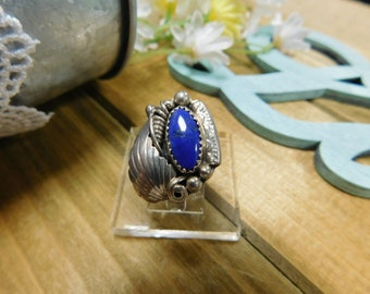 Beautiful Bright Lapis Ornate Sterling Silver Ring