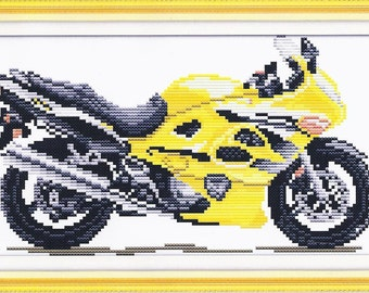 Cross Stitch Kit Yellow motorbike