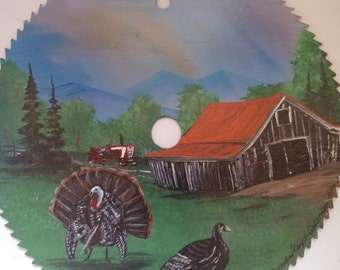 Hand Painted Circle Saw :Old Country Barn with Turkey and Hen
