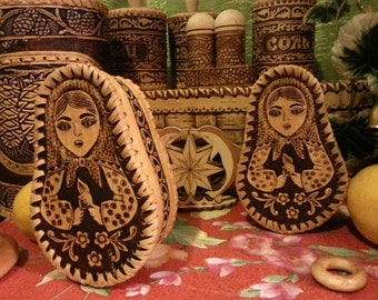 "Birchbark jewelry box ""matryoshka"""