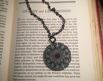 black and red gothic necklace // ruby red necklace // silver gothic necklace