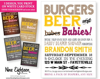 Dads Baby BBQ invitation. Burgers, Beer and Babies. Customized for you. Includes a PDF and JPG