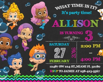 Bubble Guppies Invitation Birthday Bubble Guppies Party
