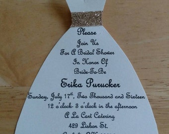 Wedding Shower Dress Invitations