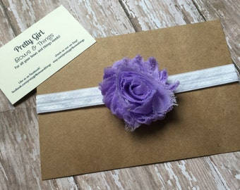 Light purple shabby flower headband