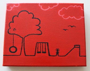 Red Playground Childrens Canvas Painting