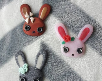 3 flat Bunny heads with beady eyes made from polymer clay in 1