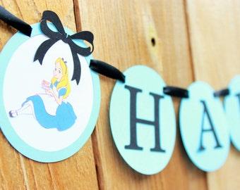 Alice in Wonderland Happy Birthday Banner