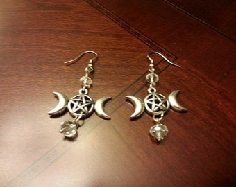 Triple Moon Pentacle Earrings Witch Wiccan Pagan Jewelry