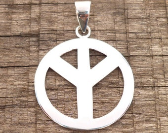 925 Sterling Silver Drop Peace Sign Symbol Charm Necklace Pendants 31 mm Large