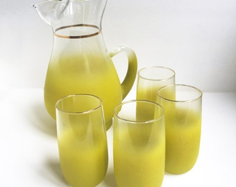 Vintage West Virginia Glass Blendo Frosted Glass Pitcher and 4 glasses in Vintage Green