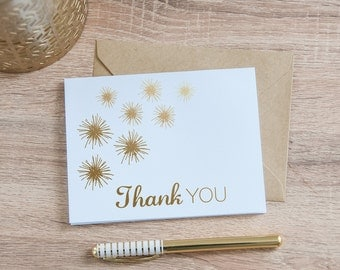 Thank You Flower Card, Gold Foil - Notecard - Thank You Card - Blank Inside - Stationary - Hand Drawn