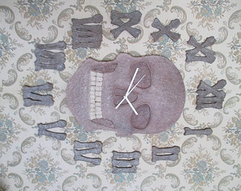 Skull and bone-shaped clock hours/hand made paper mache Clock/clock/silent clock with the hands/recycling