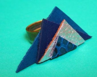 Ring leather geometric fantasy