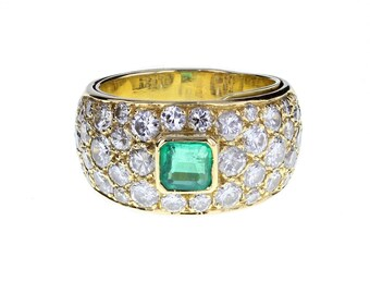 Pavé Diamond and Emerald Band Ring
