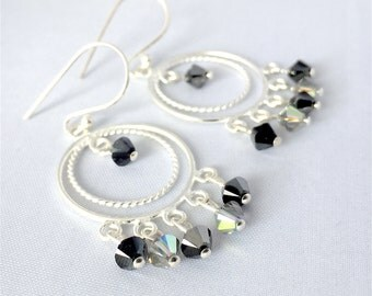 925/000 Silver earrings with Swarovski Crystal Circle Pendant