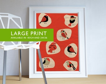 Vintage Bird Print Wall Art - Large Giclee Home Decor on Cotton Canvas and Satin Photo Paper