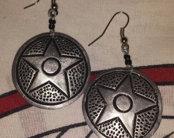 Tribal earrings, metallic earrings, ethnic accessory, African design