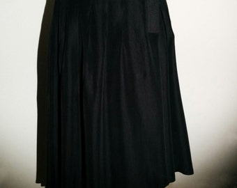 Black pleated silk skirt