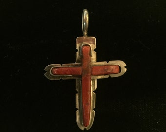 Sterling silver and coral cross pendant