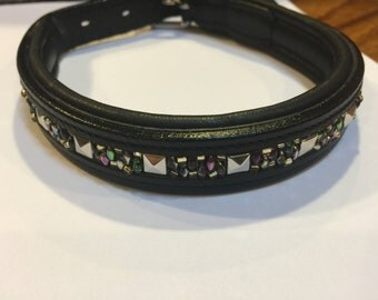 Hand beaded black padded leather dog collar
