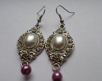 Pearl Pendant Sparkly Earrings