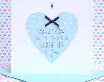 Beautiful Personalised Handmade Thank You Godmother/Godfather Card