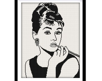 BUY 2 GET 1 FREE. Audrey Hepburn silhouette - cross stitch pattern. (#P- 1270).  Audrey Hepburn Cross Stitch, Modern cross stitch pattern.