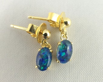 Opal Earrings Jewelry, Genuine Australian Dangle Drop Small Triplet 6x4mm, Twice 18ct Gold Plated 925 Sterling Silver with Certificate