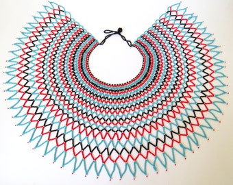 Traditional African Zulu wedding necklace – Red/Blue/Black