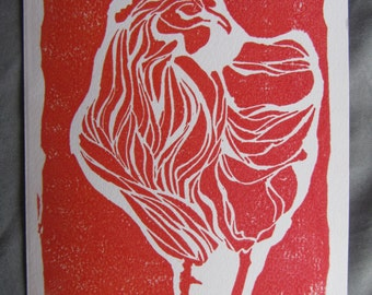 Linocut Chicken Card