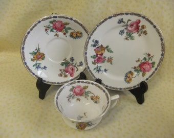 Vintage Aynsley Trio, Teacup, Saucer and Plate A6163