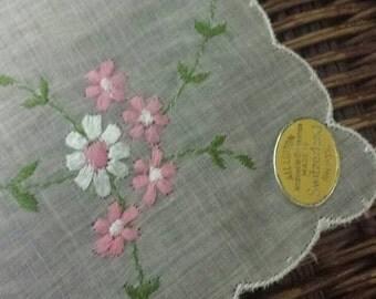 1950s Floral Burmel hanky