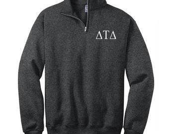 delta tau delta quarter zip sweatshirt pullover dtd cadet fleece pullover delta quarterzip sweatshirt greek apparel dtd letters
