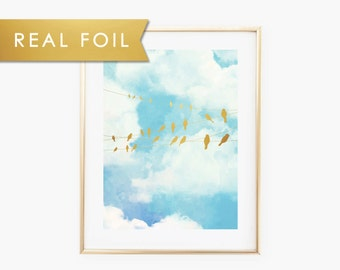 Birds on a wire Foil Art Print 11x14, 8x10, 5x7