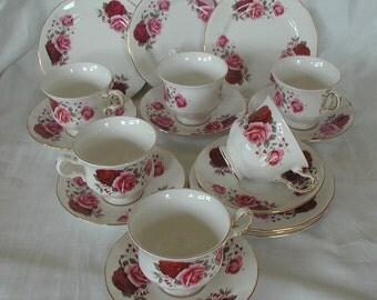Vintage Queen Anne Bone China Tea Set English Rose 18 Pieces