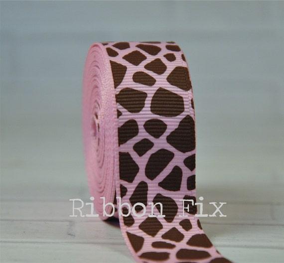 "2 Yards 7/8"" Baby Pink Giraffe Spots Grosgrain Ribbon"