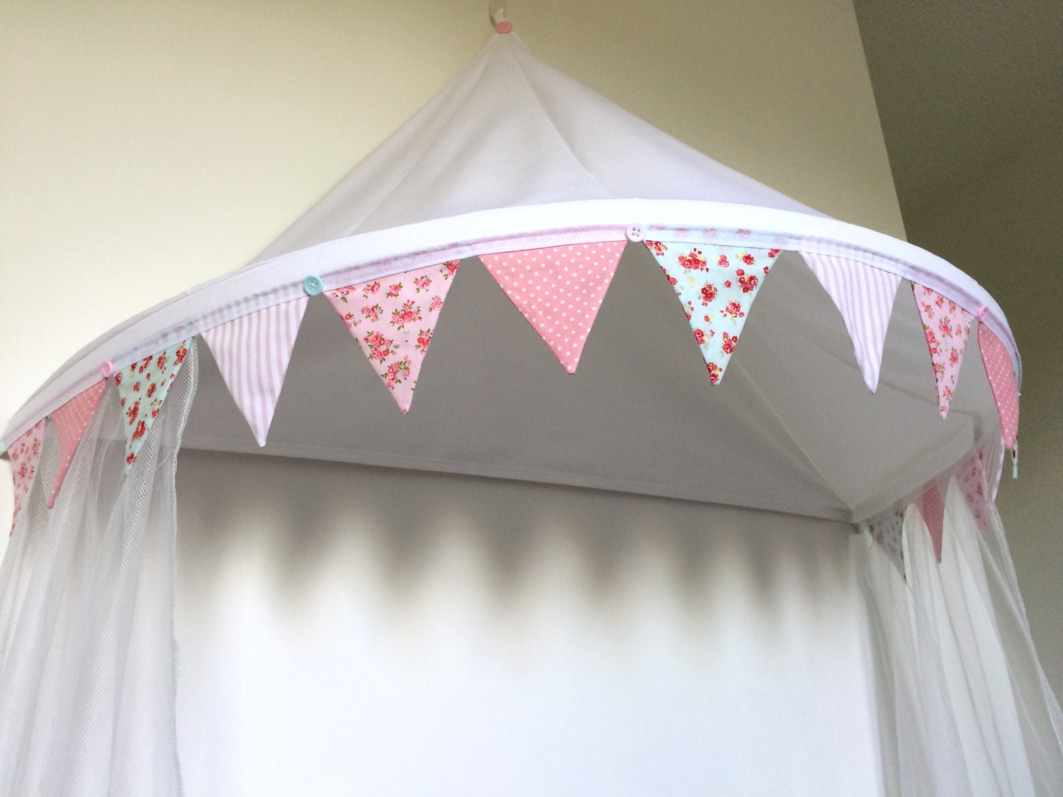 Single Bed Canopy Net Curtains And Bunting Trim Bed Canopy