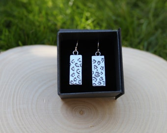 Leopard print silver etched earrings