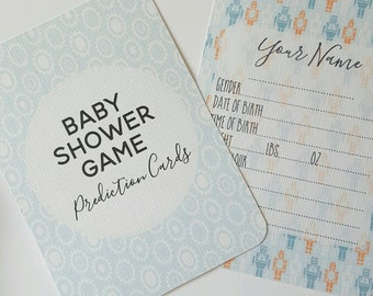 Baby Shower Game - Baby Shower Prediction Cards - Baby Boy Baby Shower