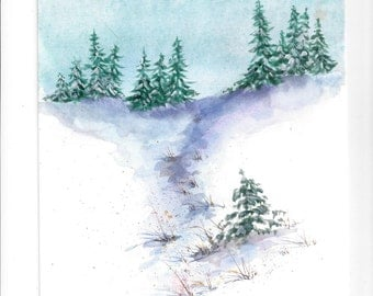 Winter Wonderland watercolor print, snow scene, winter evergreens