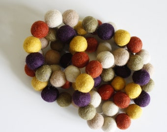 Felt Ball Garland - Pom Pom Garland - Felt Ball Garland - Fall Garland - Colorful Garland, Banner, Wall Decor - Autumn Garland - November