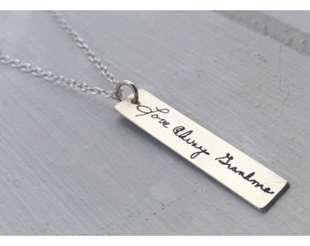 Memorial Handwriting or Font Necklace Vertical Bar Jewelry Personalized Gold Rose Silver Engraved Birthday Mom Grandma Sister Girlfriend